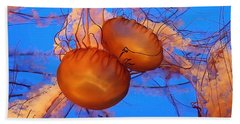 Bath Towel featuring the photograph Jellyfish Traffic Jam by Art Block Collections