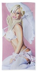 Hand Towel featuring the pastel Jenny by Joseph Ogle