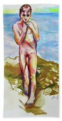 Hand Towel featuring the painting Jeremy At The Beach by Rene Capone
