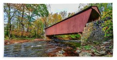Jericho Covered Bridge In Maryland During Autumn Hand Towel