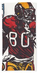 Bath Towel featuring the drawing Jerry Rice by Jeremiah Colley