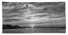 Jersey Shore Sunset In Black And White Bath Towel