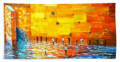 Jerusalem Wailing Wall Original Acrylic Palette Knife Painting Bath Towel by Georgeta Blanaru