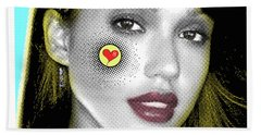 Jessica Alba Pop Art, Portrait, Contemporary Art On Canvas, Famous Celebrities Hand Towel by Dr Eight Love