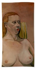 Hand Towel featuring the painting Jessica S by Ray Agius