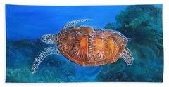 Hand Towel featuring the painting Jessie's Sea Turtle by LaVonne Hand
