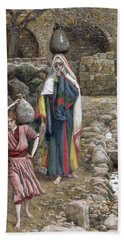 Jesus And His Mother At The Fountain Hand Towel