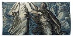 Jesus And Peter Walk On Water, Gospel Of Matthew Bath Towel