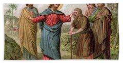 Jesus Christ Heals The Blind Man Hand Towel