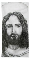 Hand Towel featuring the drawing Jesus Christ by Michael  TMAD Finney