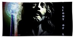 Jesus Christ The Light Of Life Bath Towel by Annie Zeno
