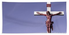 Jesus Crucifix Against The Sky Bath Towel by Gary Whitton