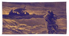 Jesus Walks On Water By Dore Bath Towel