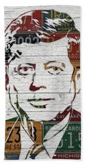 Jfk Portrait Made Using Vintage License Plates From The 1960s Bath Towel