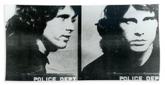 Jim Morrison Mug Shot Horizontal Bath Towel by Tony Rubino