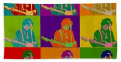 Jimi Hendrix In The Style Of Andy Warhol Bath Towel