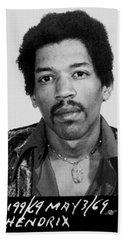 Jimi Hendrix Mug Shot Vertical Bath Towel