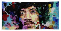 Bath Towel featuring the painting Jimi Hendrix Portrait II by Richard Day