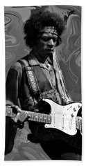 Bath Towel featuring the photograph Jimi Hendrix Purple Haze B W by David Dehner