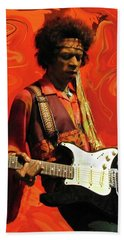 Bath Towel featuring the photograph Jimi Hendrix Purple Haze Orange by David Dehner