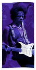 Bath Towel featuring the painting Jimi Hendrix Purple Haze P D P by David Dehner