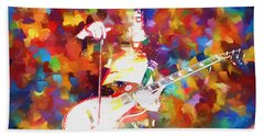 Jimmy Page Jamming Hand Towel by Dan Sproul