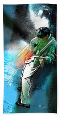 Jimmy Page Lost In Music Hand Towel by Miki De Goodaboom