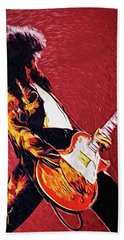 Jimmy Page  Hand Towel by Taylan Apukovska