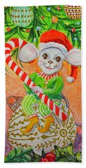 Jingle Mouse Hand Towel by Li Newton