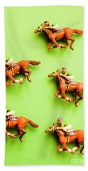 Jockeys And Horses Bath Towel