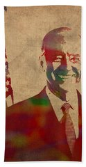 Joe Biden Watercolor Portrait Hand Towel by Design Turnpike
