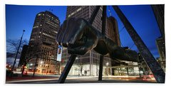 Joe Louis Fist Statue Jefferson And Woodward Ave. Detroit Michigan Hand Towel