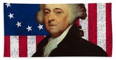 John Adams And The American Flag Hand Towel