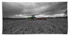 John Deere Tractor On The Farm Hand Towel