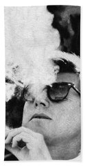 John F Kennedy Cigar And Sunglasses Black And White Hand Towel