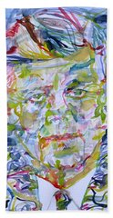 Hand Towel featuring the painting John F. Kennedy - Watercolor Portrait.2 by Fabrizio Cassetta