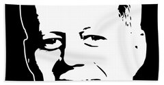 John F Kennedy White On Black Pop Art Bath Towel