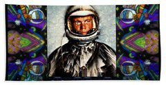 John Glenn Tribute Portrait Hand Towel by Wbk