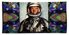 John Glenn Tribute Portrait Bath Towel by Wbk