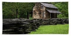 Bath Towel featuring the photograph John Oliver Cabin by Andrea Silies