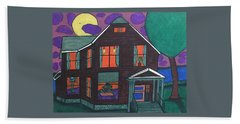 Hand Towel featuring the painting John Wells Home. by Jonathon Hansen