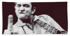 Johnny Cash Beer Cap Mosiac Hand Towel by Dan Sproul