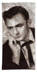 Johnny Cash By Mary Bassett Hand Towel