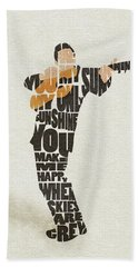 Bath Towel featuring the painting Johnny Cash Typography Art by Inspirowl Design