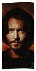 Johnny Depp, Hollywood Legend By Mary Bassett Hand Towel