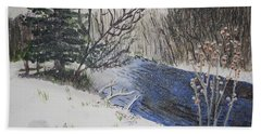 Bath Towel featuring the painting Johnson Vermont In Spring Snow Storm by Donna Walsh