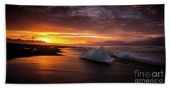 Jokulsarlon Sunrays Sunrise Beach Ice Hand Towel