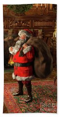 Bath Towel featuring the painting Jolly Old Saint Nicholas II by Dave Luebbert