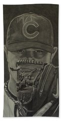 Hand Towel featuring the drawing Jon Lester Portrait by Melissa Goodrich