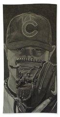 Bath Towel featuring the drawing Jon Lester Portrait by Melissa Goodrich